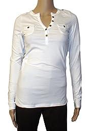 Ooh La La Color Story Henley Long Sleeve T-shirt (small, white)