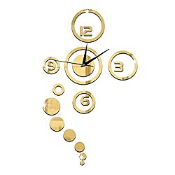 Happy Hours - 3D Creative Wall Clock / Acrylic Mirror Home DIY Decoration Watch / Round Living Room Wall Design(Golden)
