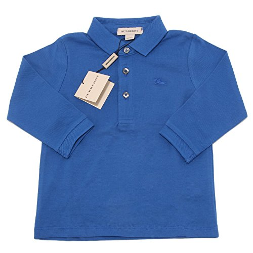 3611O polo bimbo blu BURBERRY manica lunga maglia t-shirts kids [2 YEARS]
