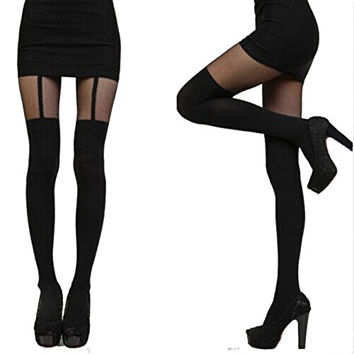Tom_trend(TM) Women's Sexy Socks Splice Tights Mock Ribbed Thigh High Pantyhose