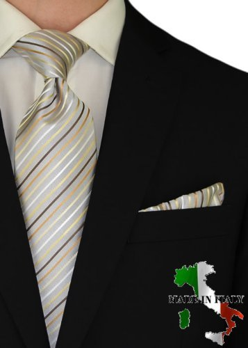 Berioni Hand Made in Italy 100% Woven Silk Mens Neck Tie + Pocket Square Jacquard Woven Tie and Hanky Set Silver Brown AG1 (Silver Brown AG1)