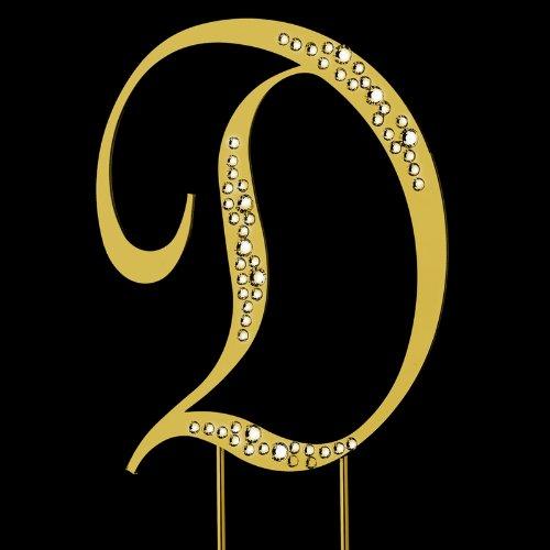 Raebella New York Swarovski Crystal Sparkle Cake Top Topper Gold Letter D (Large) front-327804