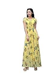 Isha Enterprise Women's Georgette Yellow Kurti