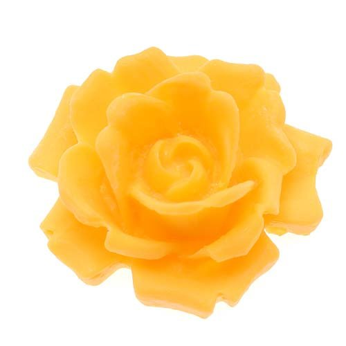 Lucite Cabochons 3-D Large Rose Flower Yellow 34mm (1)