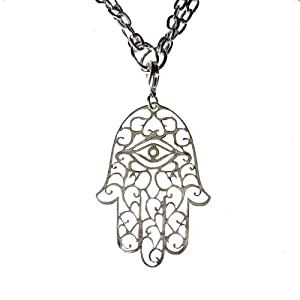 Large Hamsa Silver Dipped Pendant Necklace on 18-36