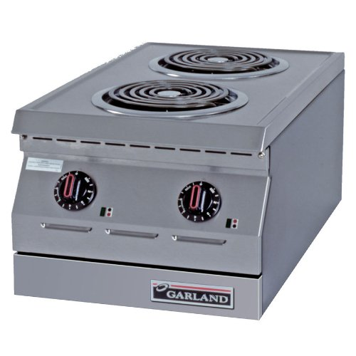 "208V Single Phase Garland Ed-15H Designer Series 15"" Two Burner Electric Countertop Hot Plate - 8"" O"