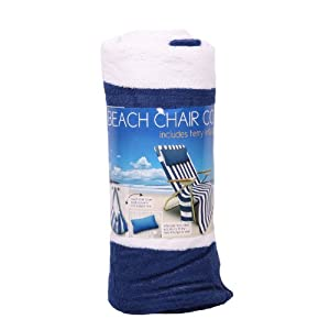100 Cotton Terry Beach Chair Cover With Inflatable Terry Pillow - Blue White Stripes from Morgan Home