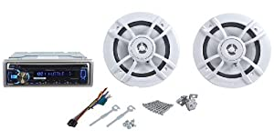 "Kenwood PKG-MR355U Package Includes Marine/Boat Kenwood KMR-355U CD/MP3 Receiver With Pandora Internet Radio - USB Port - Aux Input - iPhone/iPod Control and a Pair of Kenwood KFC-1633MRW Marine 6.5"" 2-Way Speakers"