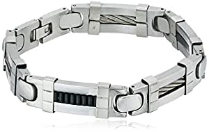 Men's Stainless Steel Cable Wire With Rubber Inset Bracelet, 8.5""