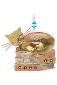 Pilgrim Imports Book Kitty Metal Fair Trade Ornament