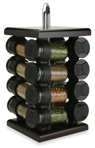 Olde Thompson 16-Jar Espresso Wood Spice Rack
