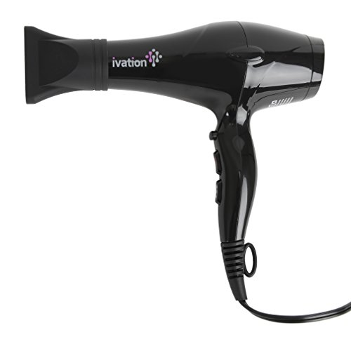 Ceramic Hair Blow Dryer Professional Powerful Turbo Blower 1875 Watts - Salon Quality Shine - 3 Heat - Cold Levels - 2 Speed Levels - 2 Nozzles - Lock Button - Extra-long Cord with Hang Ring (Blower Turbo Ceramic compare prices)