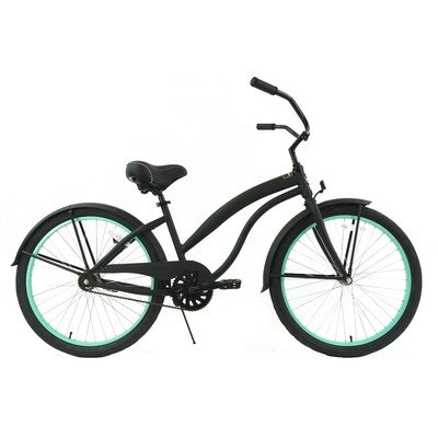 Women's Single Speed Beach Cruiser Color: Black / Mint Green