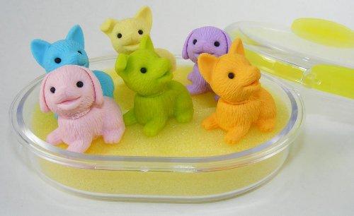 Puppy Dog Eraser Set in Oval Case, 6 Piece. IWAKO. BCM38463
