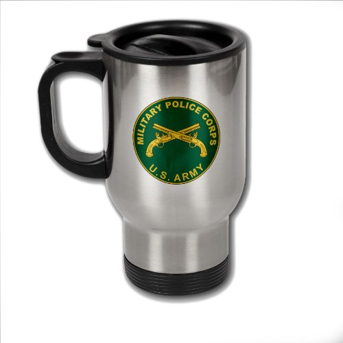 Stainless Steel Coffee Mug With U.S. Army Military Police Corps Branch Plaque
