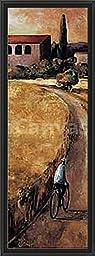 14in x 38in La Mar de Blat by Didier Loureno - Black Floater Framed Canvas w/ BRUSHSTROKES
