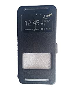 Coversncases Black Premium Luxury PU Leather Stand Flip Cover Case With Window Function For HTC ONE E8