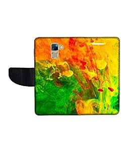 KolorEdge Printed Flip Cover For Huawei Honor 7 Multicolor - (1478-50KeMLogo10483Honor7)
