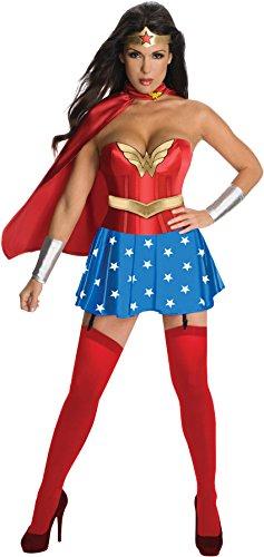 Secret Wishes Womens DC Comics Wonder Woman Corset Costume, Red/White/Blue, Small