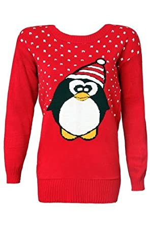 Ladies Knitted Christmas Snow Penguin Jumper (SM 8-10, Red)