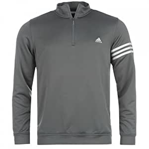 adidas Mens 3 Stripe Layer Top in Medium Grey & White