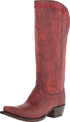 Lucchese Women's Handcrafted 1883 Vera Distressed Cowgirl Boot Snip Toe Blk Cherry 5.5 M US