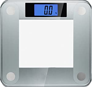 Ozeri Precision II 440 lbs Digital Bathroom Scale, in Ultra Sturdy Tempered Glass with Blue Xbright LCD and StepOn Activation