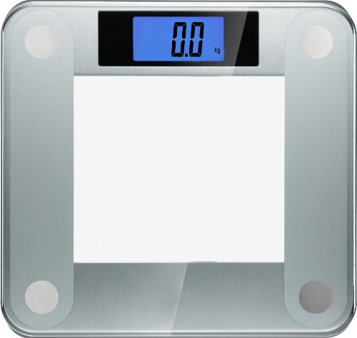 Ozeri ZB14 Precision II 440 Pound Bath Scale with Widescreen Blue Backlit Xbright LCD and Stepon Activation, Clear