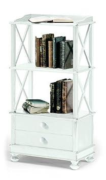 Lo Scrigno Arredamenti, Libreria Classica 2 ripiano 2 cassetti fianchi croce laccata bianco W1196/L