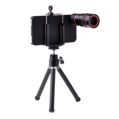 Neewer Telescope 8X Zoom Telephoto Long Focal Camera Lens Tripod For Iphone 4 4S, Includes Universal Holder, Mini Tripod, Cleaning Cloth And Case (Black)