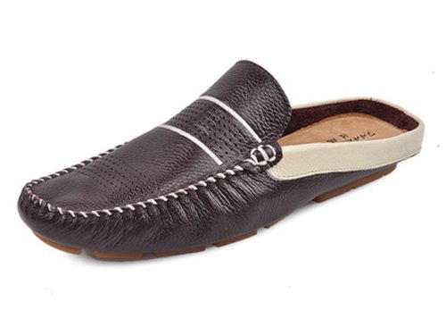 Happyshop(Tm) Men'S Leather Slip-On Shoes Loafers Slippers Ventilate Sandals Beach Shoes Hollow Out Shoes (Eur 42 (26Cm), Coffee) front-1059440