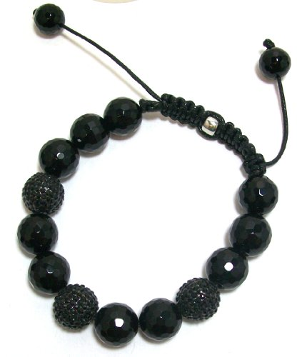 Just Give Me Jewels Yoga Style Black Onyx Crystal and Faceted Onyx Ball Bracelet