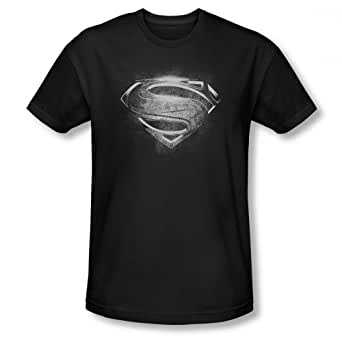 Superman Man of Steel Contrast Symbol T-Shirt (Black)