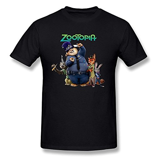 Men's Zootopia Poster T Shirts Black