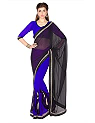 Designersareez Women Black & Blue Faux Georgette Saree With Unstitched Blouse (1781)
