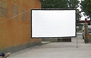 200 Inches Portable Screen Canvas Large 3D Film Video Cinema Theater White Screen Multimedia Projector Front Projection Screen can fold high brighrness