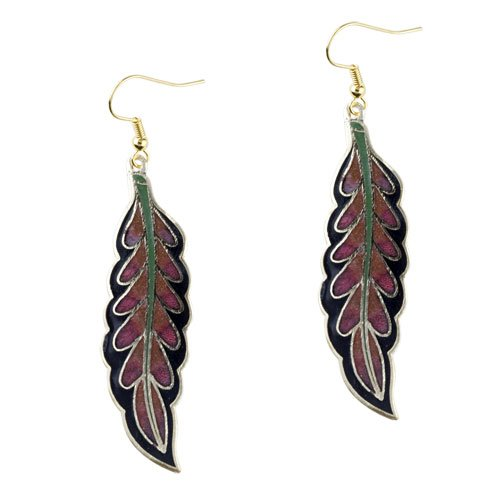 Pugster Black And Red Willow Leaf Earrings