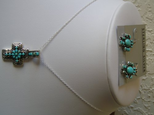 Cross with Ear Ring, Turquoise Necklace,with Sterling Silver