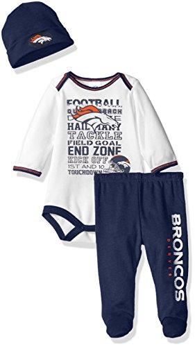 NFL Denver Broncos Bodysuit, Pants & Cap Set, 3-6 Months, Blue
