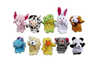 Ibeauty(TM) 10 Pc Soft Plush Animal Finger Puppet Set includes Elephant, Panda Etc. 3 Sets