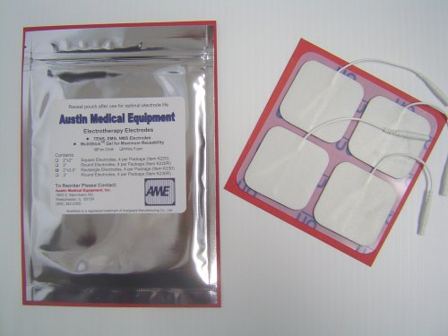 "Austin Medical Equipment -16 New Quality Sealed Reusable 2"" x 2"" White Foam Backed Electrodes with Pro-Stick"