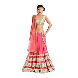Khazanakart Exclusive Designer Pink Color Net Fabric Un-stitched Lehenga Choli With Chiffon Dupatta Material.