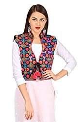 VASTRAA FUSION MULTICOLOURED EMBROIDERED COTTON COLLAR JACKET ON BLACK BASE WITH MATCHING PIPING - SMALL