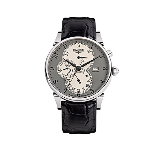 Elysee Men's Watch Daidalos Grey Leather Strap Black
