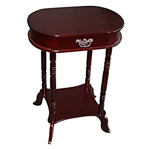 Home Source Industries AF047 Oval Accent Table with Faux-Drawer and Lower Shelf, Mahogany