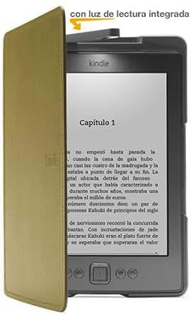 Funda de cuero con luz Amazon para Kindle, color verde (sólo sirve para el Kindle)