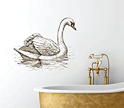 Swan Elegant Illustration Room Décor - Peel and Stick - Removable Wall Decal - 20\