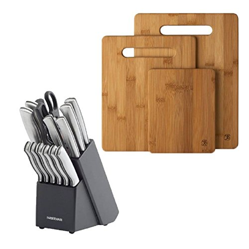 Ap Exit 9 3 Piece Bamboo Cutting Board Set, For Meat & Veggie Prep, Serve Bread, Crackers & Cheese, Cocktail Bar Board and 15-Piece Stamped Stainless Steel Knife Block Set (Tfal 13 Inch Griddle compare prices)