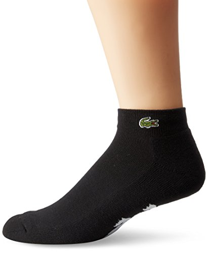 Lacoste Men's Sport Quarter Ped Sock with Croc, Black, 10-13/Shoe Size 8.5-12