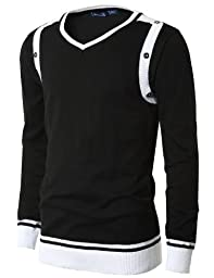 Doublju Mens V-Neck Sweater with Contrast Detail BLACK (US-L)